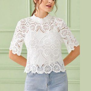 SHEIN MOCK NECK KEYHOLE GUIPURE LACE TOP WHITE XS